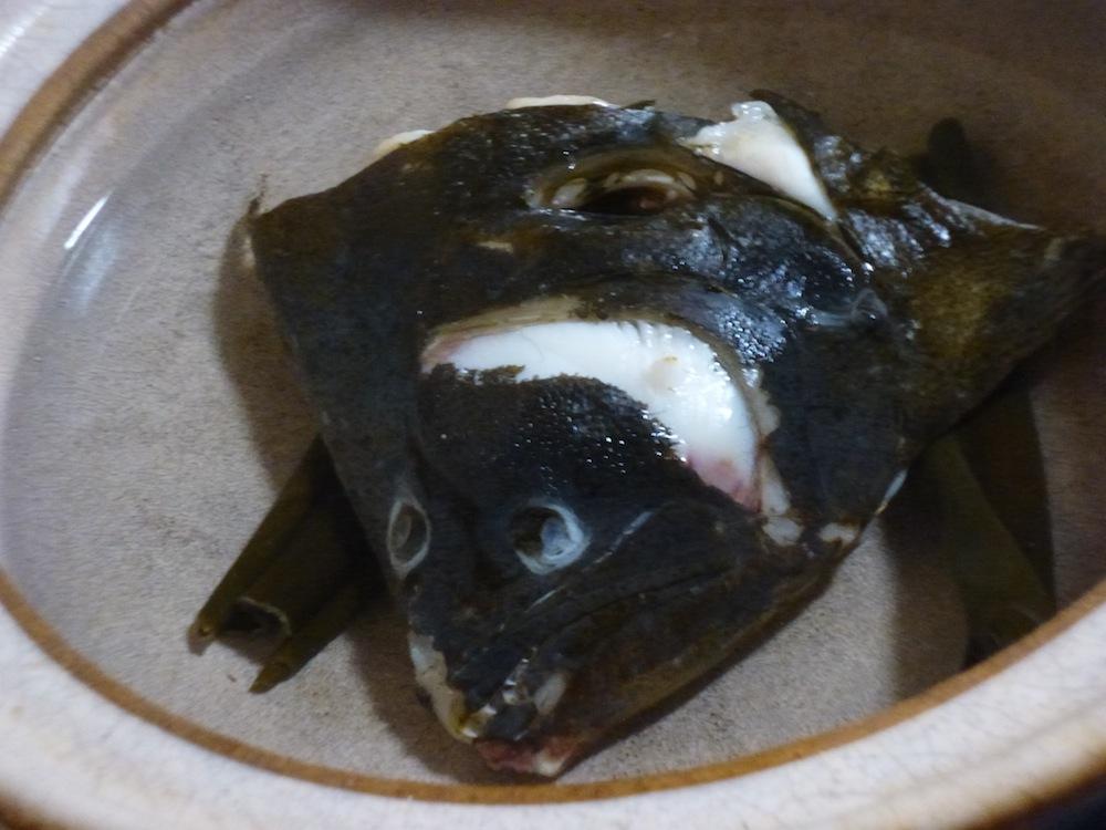 ヒラメの頭 水没 鍋