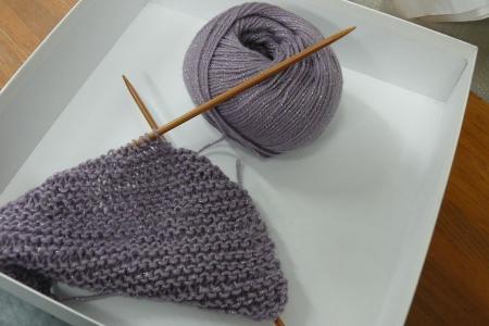 編み目のゆるいガータ
