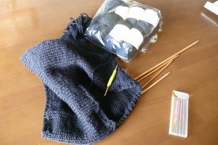 編みあがったマフラー