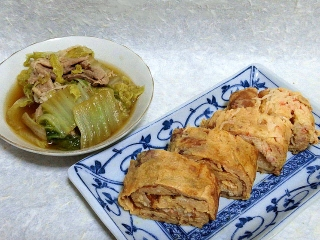 150616_3228白菜と豚肉の煮物・カニカマ入り卵焼きVGA