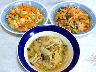 150623_3240鶏のガーリックバター炒め・豚玉ねぎ生姜炒め・白菜の胡麻だれ炒めVGA