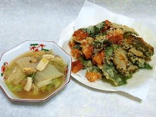 150707_3308白菜とシーフードの煮物・竹輪と大葉の天ぷらVGA