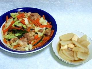150707_3309野菜炒め・大根とイカの煮物VGA