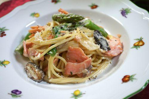 salmon asparagus cream sauce