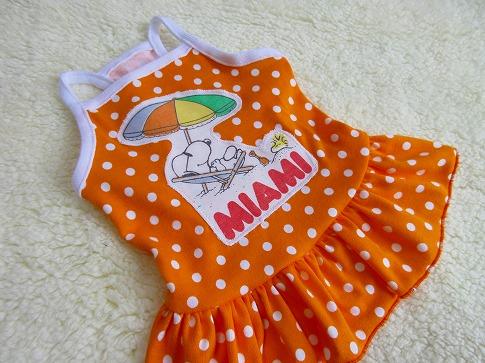M*mania★Snoopyパッチ*ドットキャミワンピ*オレンジ