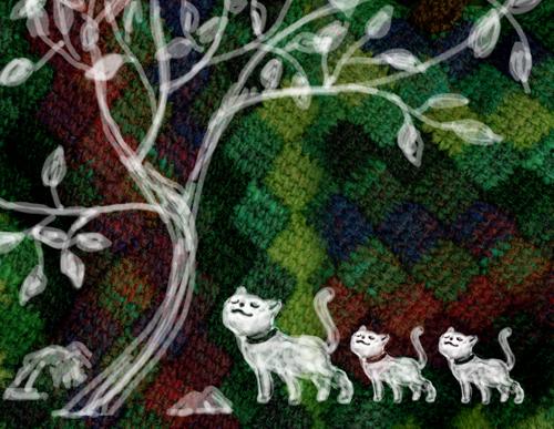 白い木と猫