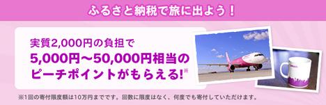 実質2,000円の負担で5,000円〜50,000円相当のピーチポイントがもらえる!ふるさと納税。