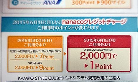 漢方スタイルクラブカードが、nanacoチャージへのポイント付与を改悪!