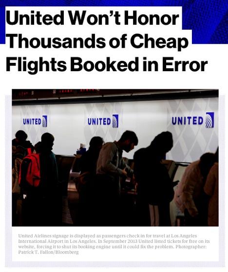 ユナイテッド航空は、ファーストクラス航空券を50米ドル(約6,000円)で販売!