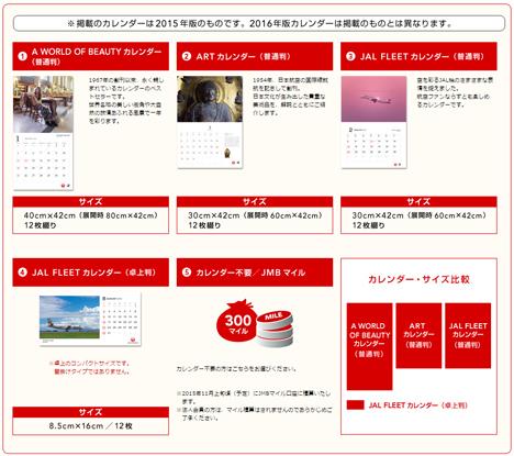 2016年版JALオリジナルカレンダーの選択期間が2カ月延長!カレンダー不要なら300マイルも選べます。