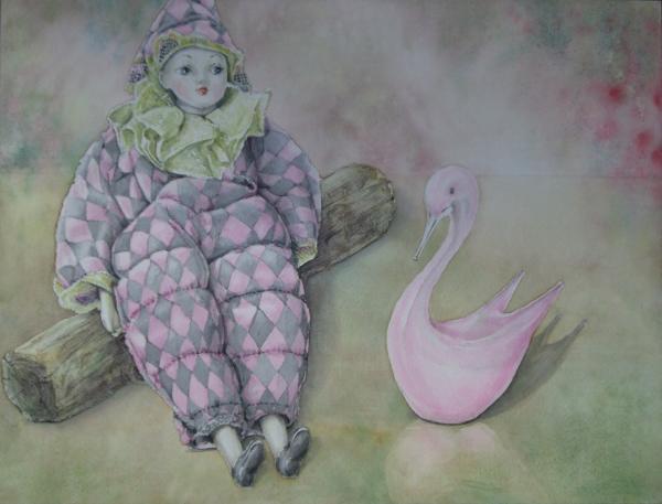 人形とピンクの白鳥