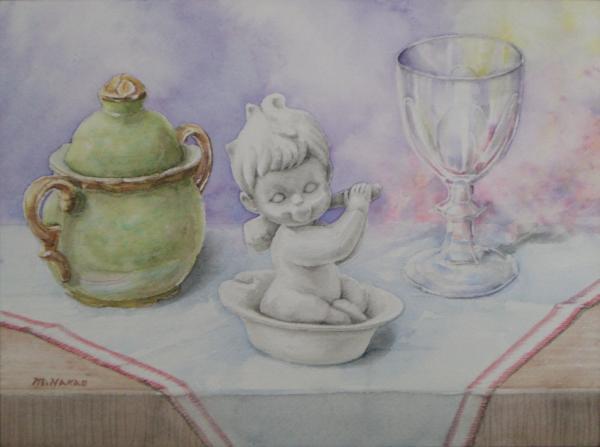 陶器の入浴人形