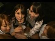 スーツの痴女OL4人組が一人の男を責めまくる動画がエロ過ぎる 芦名未帆 羽月希 早乙女ルイ 乙音奈々