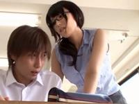 【有村千佳】美人痴女教師が男子生徒を誘惑してベロチュー&手コキフェラ抜き!