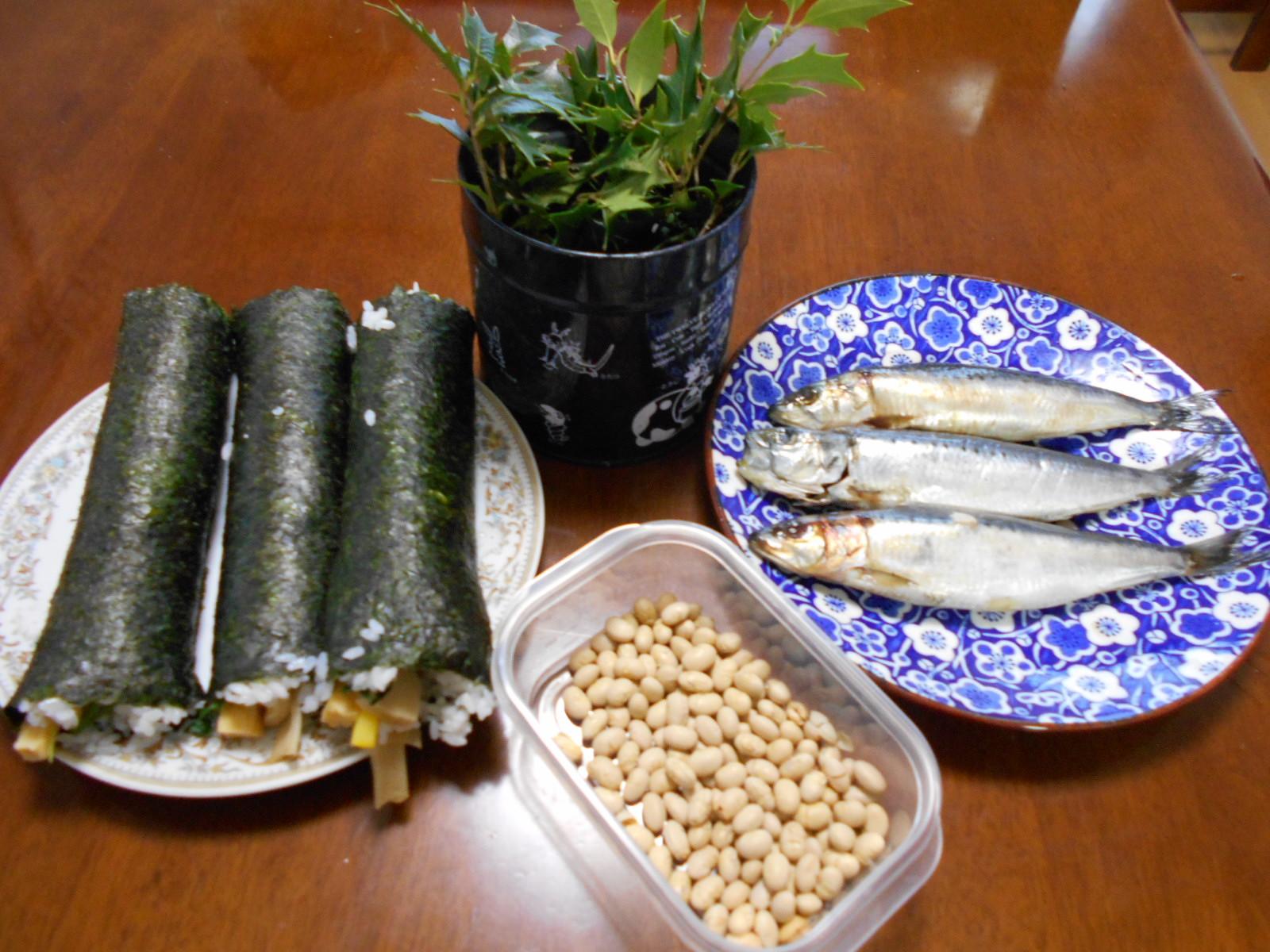 節分(豆・鰯・巻寿司・ひいらぎ)