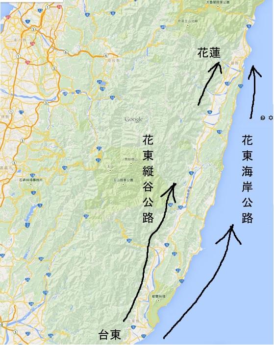台東-花蓮地図