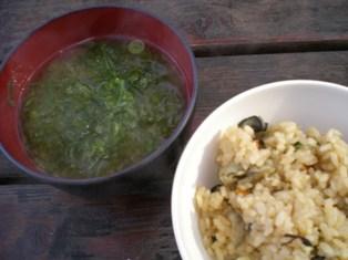 アオサ味噌汁とカキ飯