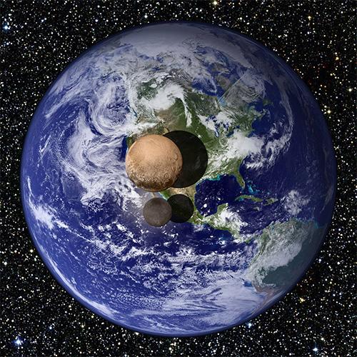冥王星とカロンの大きさを地球と比べてみると