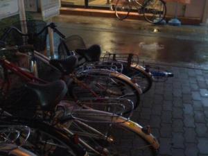 自転車、風で倒れる