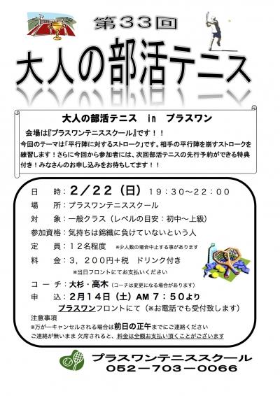 第33回大人の部活テニス(P1) 2月(2015年) Sheet1