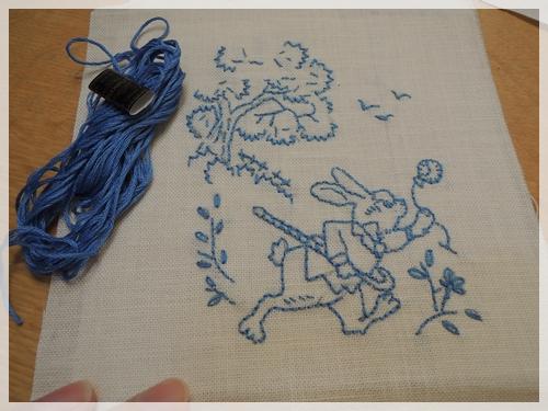 三月うさぎの刺繍
