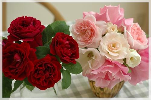 庭のバラを飾る2