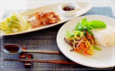 チャプチェ&pork焼き