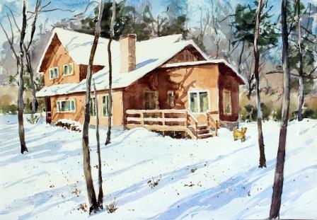 別荘に名残りの雪