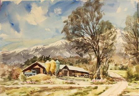 山の牧舎に春