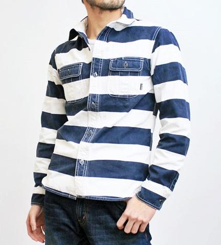 15-1-12 ヒューストン[HOUSTON] ヘビーウェイトオックスフォード プリズナーワークシャツ ネイビー 1