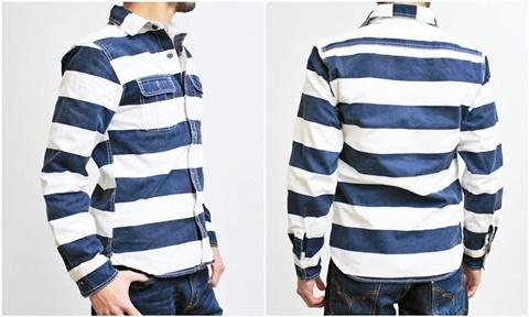 15-1-12 ヒューストン[HOUSTON] ヘビーウェイトオックスフォード プリズナーワークシャツ ネイビー 3