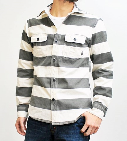 15-1-12 ヒューストン[HOUSTON] ヘビーウェイトオックスフォード プリズナーワークシャツ ブラック 1