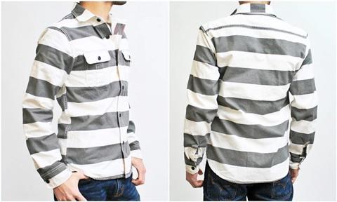 15-1-12 ヒューストン[HOUSTON] ヘビーウェイトオックスフォード プリズナーワークシャツ ブラック 3
