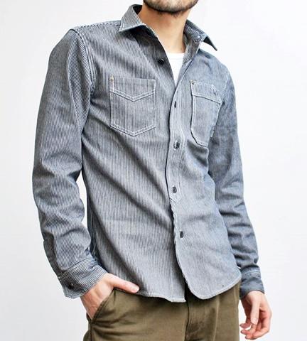 15-1-22 ヒューストン[HOUSTON] ヒッコリーストライプワークシャツ 1