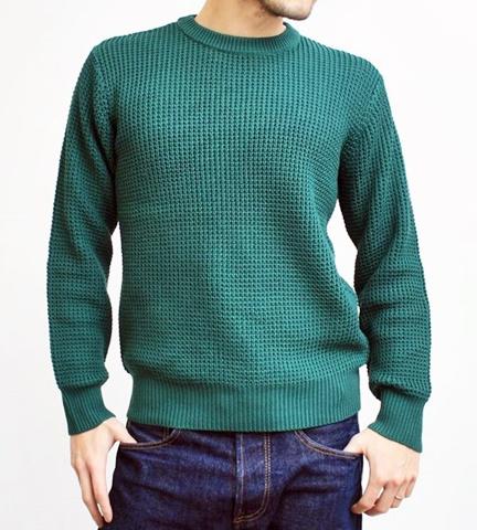 2015-01-26 98-GU511001S green 畦編みニットボーダークルーネックセーター 1