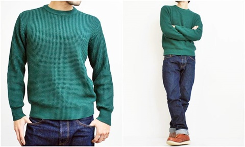 2015-01-26 98-GU511001S green 畦編みニットボーダークルーネックセーター 2