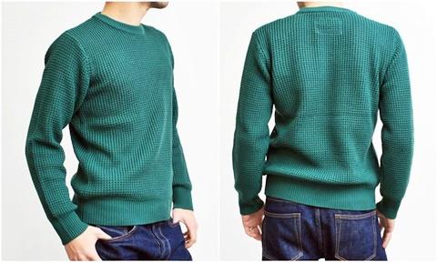 2015-01-26 98-GU511001S green 畦編みニットボーダークルーネックセーター 3