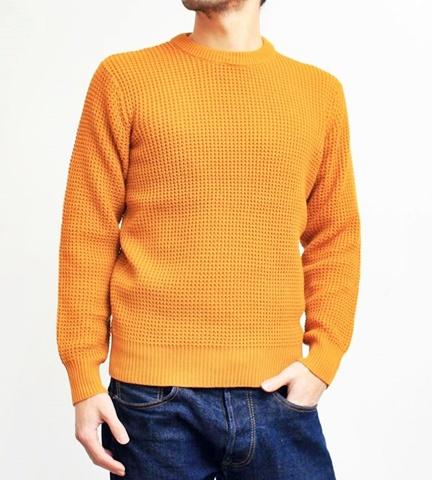 2015-01-26 98-GU511001S mustard 畦編みニットボーダークルーネックセーター 1