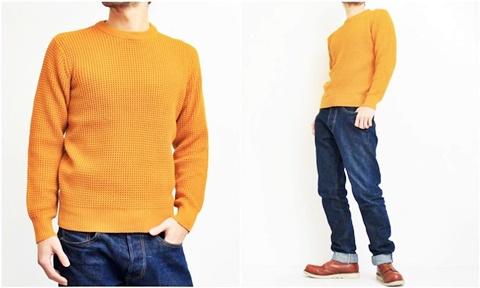 2015-01-26 98-GU511001S mustard 畦編みニットボーダークルーネックセーター 2