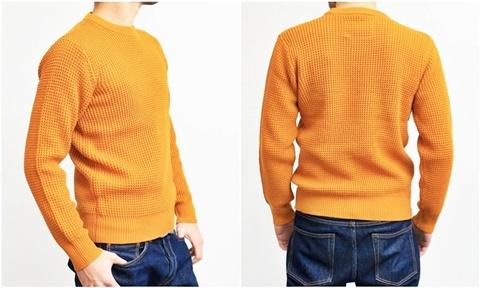 2015-01-26 98-GU511001S mustard 畦編みニットボーダークルーネックセーター 3