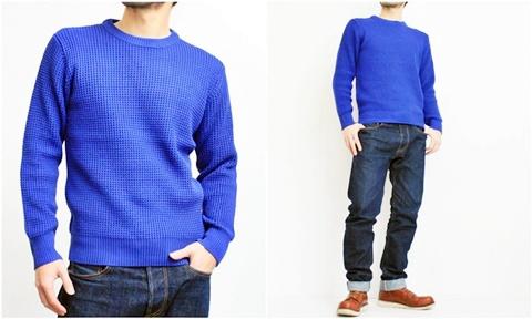 2015-01-26 98-GU511001S rblue 畦編みニットソリッドカラークルーネックセーター 2