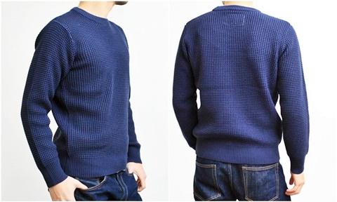 2015-01-26 98-GU511001S navy 畦編みニットソリッドカラークルーネックセーター 3