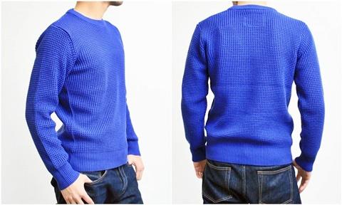 2015-01-26 98-GU511001S rblue 畦編みニットソリッドカラークルーネックセーター 3