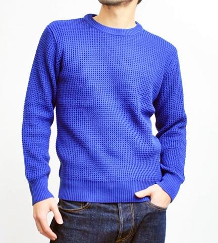 2015-01-26 98-GU511001S rblue 畦編みニットソリッドカラークルーネックセーター 1
