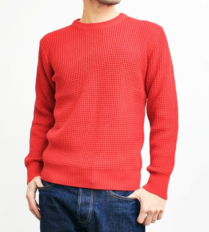 2015-01-26 98-GU511001S red 畦編みニットソリッドカラークルーネックセーター 1