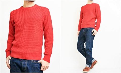 2015-01-26 98-GU511001S red 畦編みニットソリッドカラークルーネックセーター 2