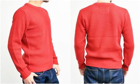 2015-01-26 98-GU511001S red 畦編みニットソリッドカラークルーネックセーター 3