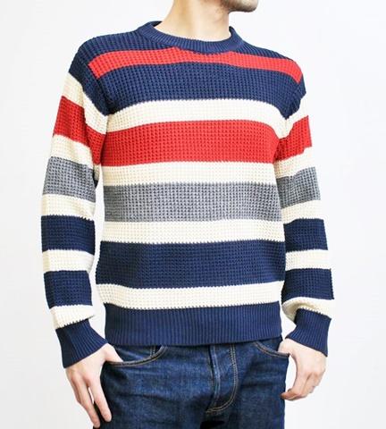 2015-01-26 98-GU511002S bnavy 畦編みニットボーダークルーネックセーター 1