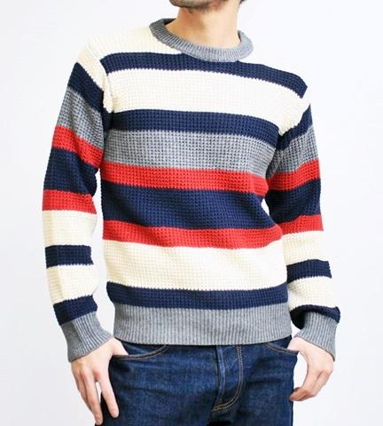 2015-01-26 98-GU511002S bwhite 畦編みニットボーダークルーネックセーター 1