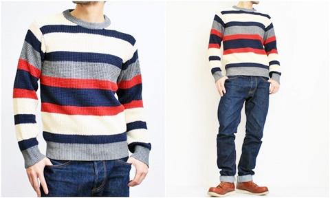 2015-01-26 98-GU511002S bwhite 畦編みニットボーダークルーネックセーター 2